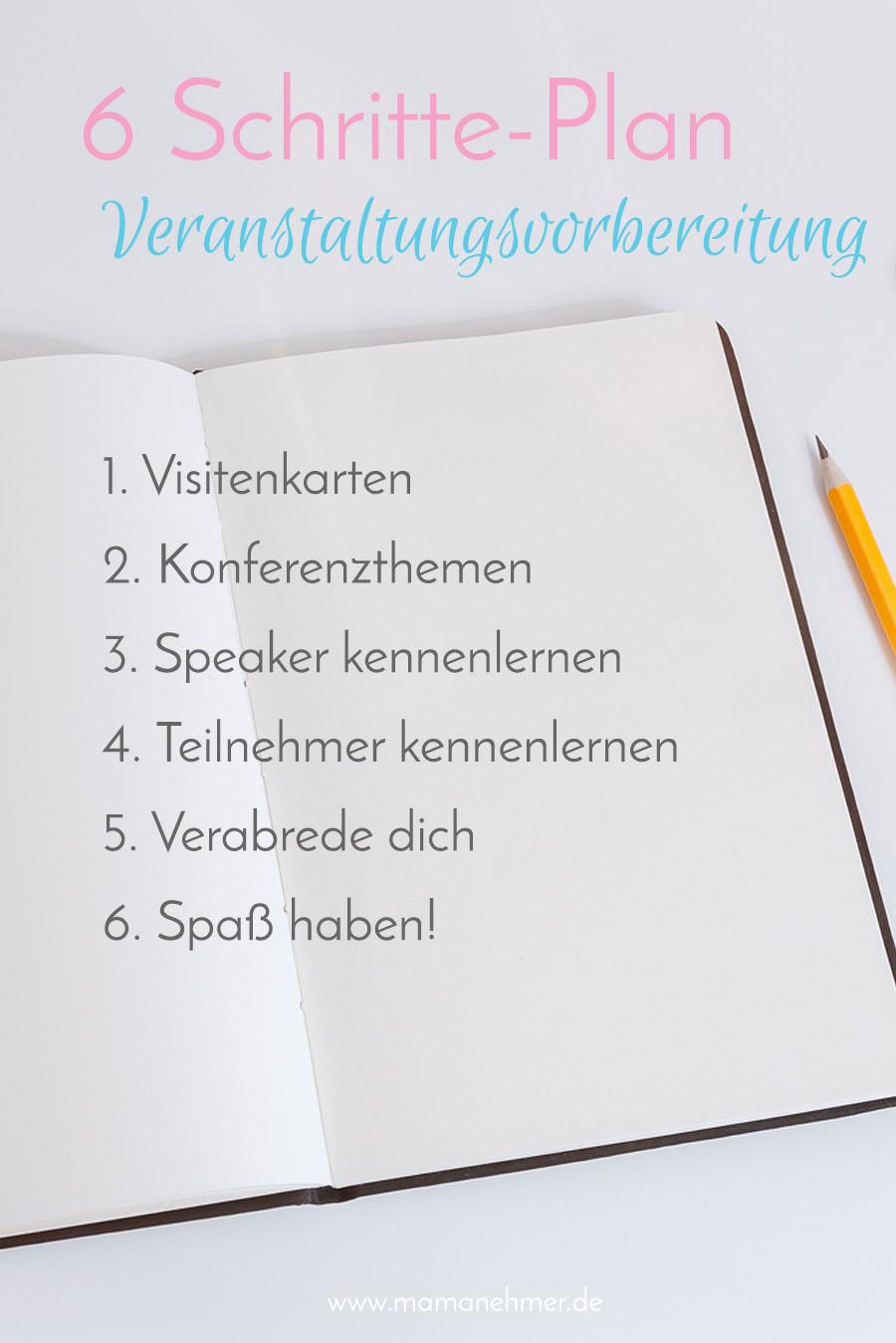 Mamanehmer Veranstaltungsvorbereitung 6-Schritte-Plan