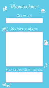 Instagram Stories Lern-Card blau
