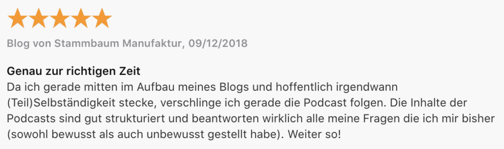 Mamanehmer Podcast Rezension